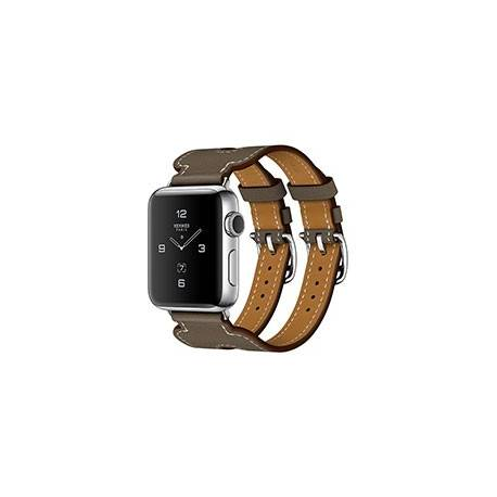 Apple Watch Series 2 Stainless Steel with Etoupe Swift Leather Double Buckle Cuff 38mm - ساعت هوشمند اپل سری 2